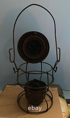 Vintage Western Maryland Railway WMRY Lantern with red Imprinted globe