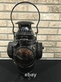 Vtg Adlake Non Sweating 4-Way Train Switch Marker Railroad Lamp Lantern CM&ST RY