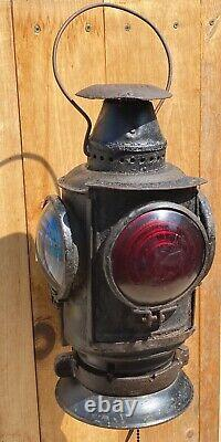 Vtg Antique RR Adlake Lamp Lantern 4 Way Railroad Train Light with Mount Bracket