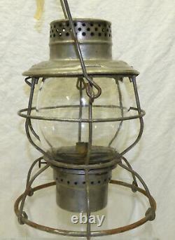 Vtg Handlan MK&T RR Railroad Lantern MKT Missouri Kansas & Texas with Etched Globe