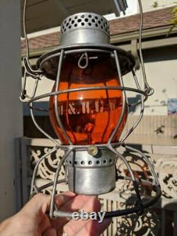 (m) Denver & Rio Grande Western Tall Globe Railroad Lantern Matching Amber Globe